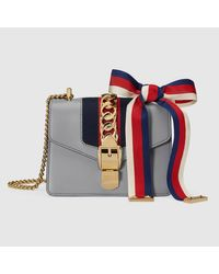 7f7db50db07 Lyst - Gucci Sylvie Leather Mini Leather Chain Shoulder Bag in Gray