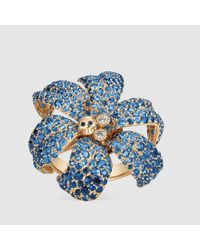 Gucci - Multicolor Flora Ring With Sapphires - Lyst