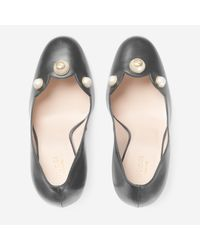 Gucci - Black Leather Pearl-Studded Pump - Lyst