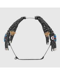 Gucci | Metallic Hairband In Metal With Crystals | Lyst