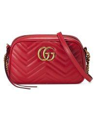 Gucci | Red Gg Marmont Matelassé Shoulder Bag | Lyst