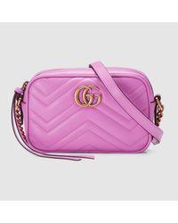 b1c63b70b7f Lyst - Gucci GG Marmont Matelassé Leather Mini Shoulder Bag