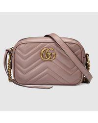 3710d76d8c8a Gucci GG Marmont Matelassé Leather Shoulder Bag in Pink - Lyst