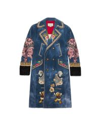 Gucci | Blue Embroidered Velvet Coat for Men | Lyst