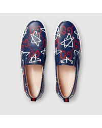 Gucci | Multicolor Ghost Print Leather Slip-on Sneaker | Lyst