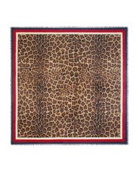 Gucci - Brown Leopard Print Modal Silk Shawl for Men - Lyst