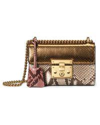 Gucci - Multicolor Padlock Python Shoulder Bag - Lyst