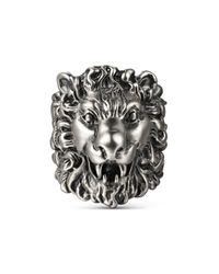 Gucci - Multicolor Ring With Lion Head - Lyst