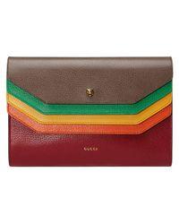 Gucci - Brown Totem Leather Portfolio - Lyst