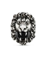 Gucci - Black Lion Head Ring With Crystal for Men - Lyst