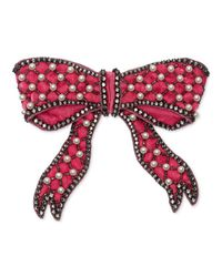 Gucci - Pink Velvet Bow Brooch - Lyst
