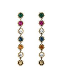 Gucci - Metallic Pendant Earrings With Crystals - Lyst