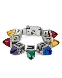 Gucci Metallic Bracelet With Square G Cubes In Silver