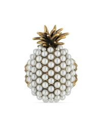 Gucci - Metallic Pearl Studded Pineapple Ring In Metal - Lyst