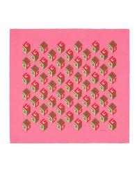 Gucci - Pink Gg Wallpaper Print Silk Scarf - Lyst