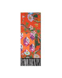 Gucci - Red Flora Snake Print Silk Scarf With Pocket - Lyst