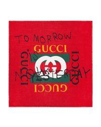 Gucci - Red Coco Capitán Print Modal Silk Shawl - Lyst