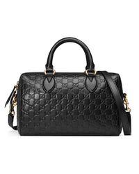 7e91e4729f0 Gucci Soft Signature Top Handle Bag in Black - Lyst