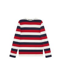 Gucci | Red Striped Sweater With Snake Embroidery | Lyst