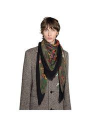 Gucci - Green Châle en laine et soie à imprimé flora serpent vintage for Men - Lyst
