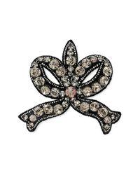 Gucci - Black Crystal Bow Brooch - Lyst