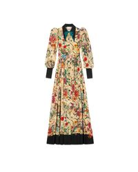 Gucci - Natural Flora Snake Silk Long Sleeve Gown - Lyst