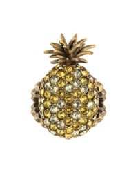 Gucci - Metallic Crystal Studded Pineapple Ring In Metal - Lyst