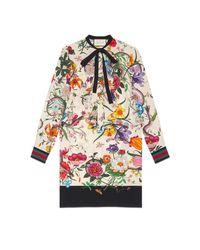 Gucci - White Floral Snake Print Silk Dress - Lyst