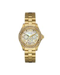 Guess - Metallic Gold-tone Sparkling Feminine Sport Watch - Lyst