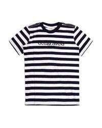 Guess | Black Striped T-shirt for Men | Lyst