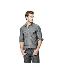 Guess | Gray Sunset Regular-fit Slub Popover Shirt for Men | Lyst
