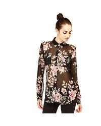 Guess | Black See-through Floral Shirt | Lyst