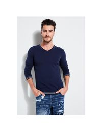 Guess - Blue Cosmo V-neck Sweater for Men - Lyst