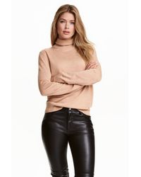 H&M | Natural Polo-neck Merino Wool Jumper | Lyst