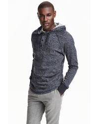 H&M   Gray Hooded Jersey Top for Men   Lyst
