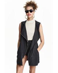 H&M   Black Hooded Gilet   Lyst