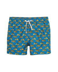 H&M - Blue Printed Swim Shorts for Men - Lyst