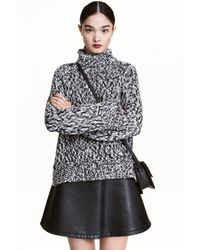 H&M | Black Chunky-knit Polo-neck Jumper | Lyst