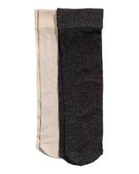H&M   Black 2-pack Thin Glittery Socks   Lyst