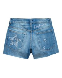 H&M - Blue Embroidered Denim Shorts - Lyst