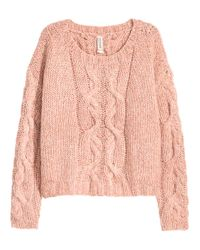 H&M - Pink Cable-knit Jumper - Lyst