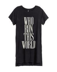 H&M - Black Long T-shirt - Lyst