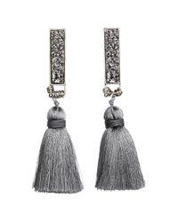 H&M - Gray Tasselled Earrings - Lyst