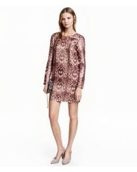 H&M | Natural Patterned Silk-blend Dress | Lyst