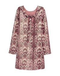 H&M - Natural Patterned Silk-blend Dress - Lyst