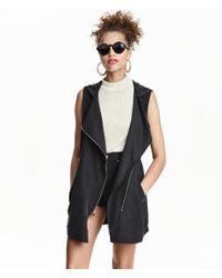 H&M | Black Hooded Gilet | Lyst