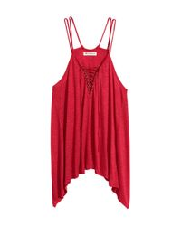 H&M - Red Top With Lacing - Lyst