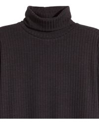 H&M - Black Ribbed Polo-neck Top - Lyst