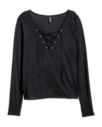 H&M - Black Top With Lacing - Lyst