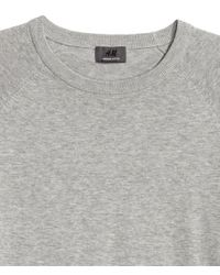 H&M - Gray Knitted Premium Cotton Jumper for Men - Lyst